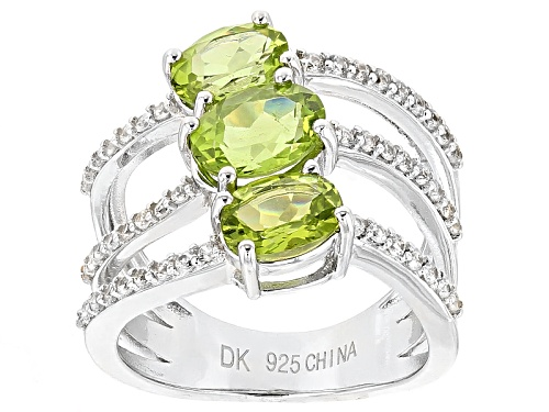 Photo of 2.60ctw Oval Manchurian Peridot™ And .43ctw Round White Zircon Sterling Silver Ring - Size 7