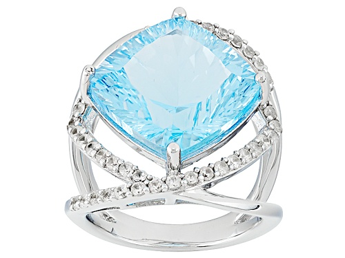 Photo of 9.35ct Square Cushion Glacier Topaz™ And .85ctw Round White Zircon Sterling Silver Ring - Size 6