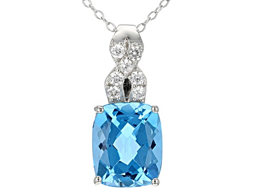 Photo of 6.21ct Rectangular Cushion Swiss Blue Topaz And .29ctw Round White Zircon Silver Pendant With Chain