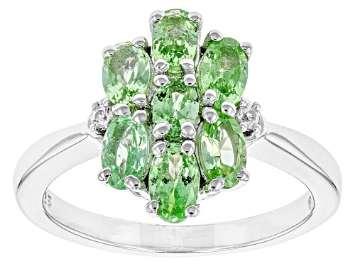 Photo of 1.68ctw Oval Mint Tsavorite Garnet With .03ctw White Zircon Sterling Silver Ring - Size 12