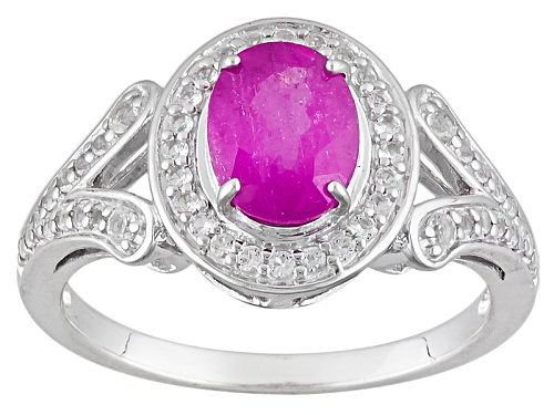 Photo of 1.58ct Oval Mahaleo® Pink Sapphire With .21ctw White Topaz Sterling Silver Ring - Size 12