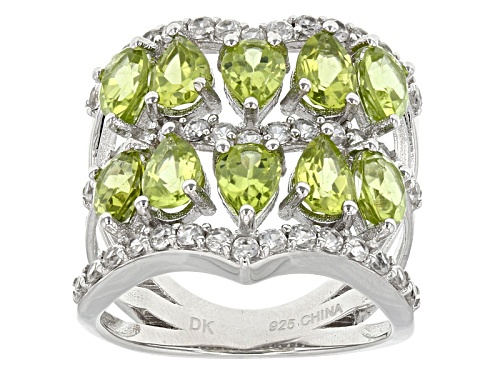 Photo of 4.08ctw Pear Shape Manchurian Peridot™ And 1.28ctw Round White Zircon Sterling Silver Band Ring - Size 6