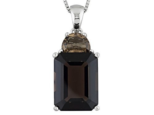 Photo of 12.07ctw Emerald Cut And Half Moon Shape Smoky Quartz Sterling Silver Pendant With Chain