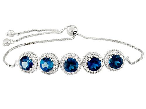 Photo of 6.80ctw London Blue Topaz And .72ctw  White Topaz Rhodium Over Silver Sliding Adjustable Bracelet - Size 7.25