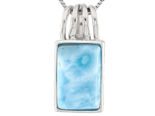 Photo of 16x10mm Rectangular Octagonal Larimar Cabochon Sterling Silver Solitiaire Pendant With Chain