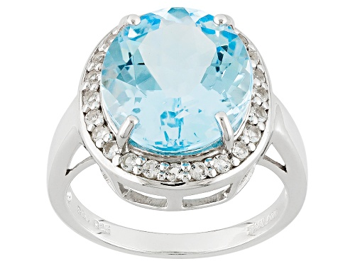 Photo of 8.50ct Oval Glacier Topaz™ With .39ctw Round White Topaz Sterling Silver Ring - Size 6