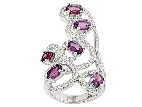 Photo of 2.50ctw Oval Raspberry color Rhodolite And .77ctw Round White Topaz Sterling Silver Ring - Size 6
