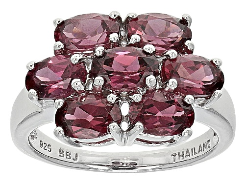 Photo of 3.33ctw Oval Raspberry Color Rhodolite Sterling Silver Cluster Ring - Size 12