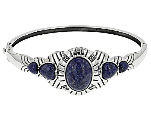 Photo of Oval And Heart Shape Cabochon Lapis Lazuli Sterling Silver Hinged Bangle Bracelet - Size 8