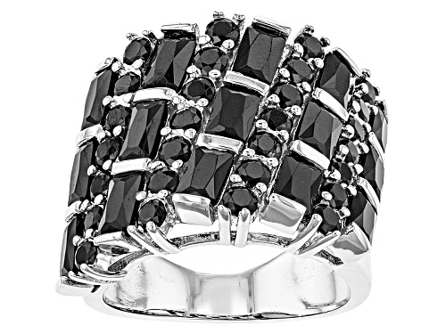 Photo of 3.48ctw Rectangular Octagonal And Round Black Spinel Sterling Silver Band Ring - Size 5