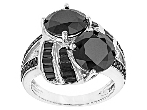 7.85ctw Round And Baguette Black Spinel Sterling Silver Ring - Size 5