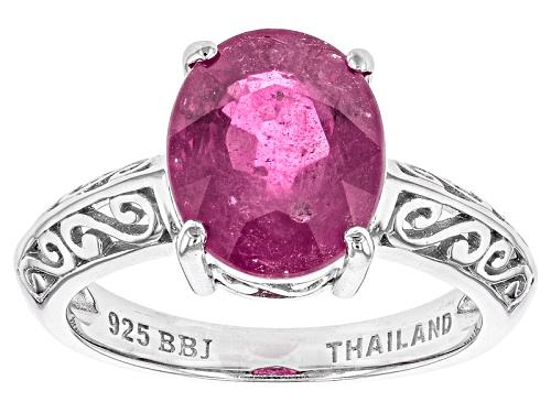 Photo of 3.96ct Oval Mahaleo® Pink Sapphire Sterling Silver Solitaire Ring - Size 12