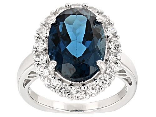 Photo of 6.37ct Oval London Blue Topaz With 1.51ctw Round White Zircon Sterling Silver Ring - Size 12