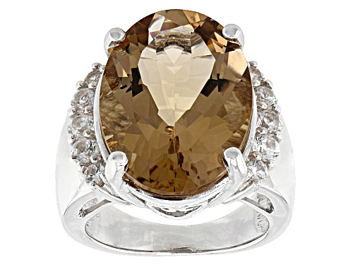 Photo of 8.83ct Oval Bolivian Champagne Quartz With .70ctw Round White Zircon Sterling Silver Ring - Size 5