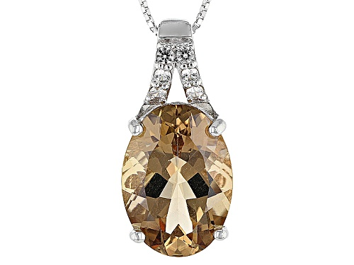 Photo of 8.80ct Oval Bolivian Champagne Quartz With .30ctw Round White Zircon Silver Pendant With Chain