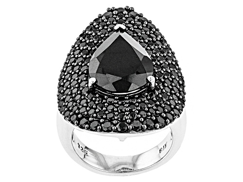Photo of 9.00ctw Pear Shape And Round Black Spinel Sterling Silver Ring - Size 7