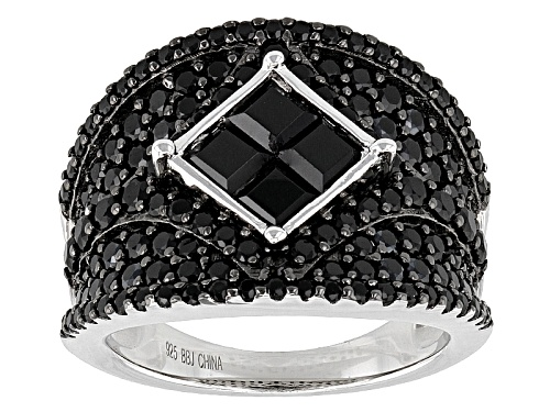 Photo of 3.39ctw Square And Round Black Spinel Sterling Silver Ring - Size 5