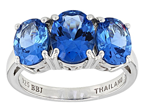 Photo of 4.61ctw Oval Lab Created Blue Spinel Sterling Silver 3-Stone Ring - Size 11
