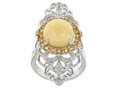 Photo of 10mm Round Butterscotch Amber With .49ctw Round Citrine And .12ctw White Zircon Sterling Silver Ring - Size 6