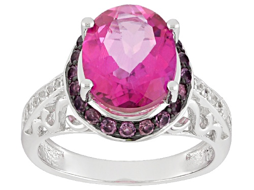 2.80ct Oval Pink Topaz With .46ctw Round Rhodolite Garnet And .07ctw White Zircon Silver Ring - Size 9