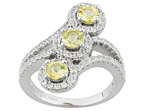 Photo of .70ctw Round Yellow Beryl And .55ctw Round White Zircon Sterling Silver 3-Stone Ring - Size 7