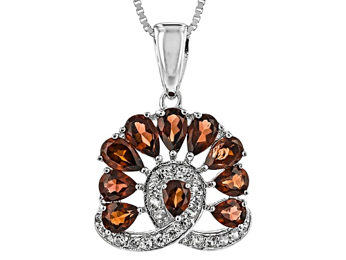 Photo of 1.92ctw Pear Shape Vermelho Garnet™ And .22ctw Round White Zircon Silver Pendant With Chain