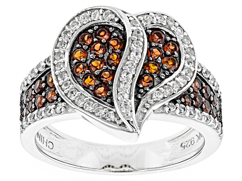Photo of .36ctw Round Vermelho Garnet™ And .42ctw Round White Zircon Rhodium Over Sterling Silver Heart Ring - Size 9