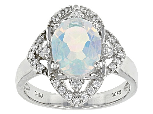 Photo of 1.49ct Oval Lab Created Opal And .23ctw Round White Zircon Sterling Silver Ring - Size 6