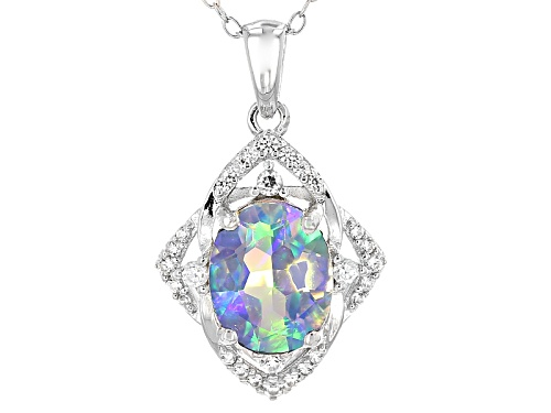 Photo of 1.49ct Oval Lab Created Opal And .23ctw Round White Zircon Sterling Silver Pendant With Chain