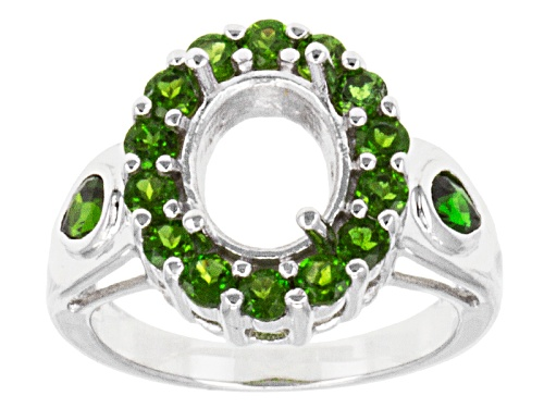 Photo of Gemsavvy Journeys™10x8mm Oval With 1.47ctw Round & Pear Shape Chrome Diopside Sterling Semi-Mount