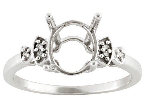 Photo of 9x7mm Oval Semi Mount Ring With .02ctw Round White Diamond Accent 10k White Gold