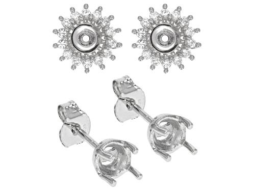 Photo of 5.5mm Round Semi Mount With .61ctw Round White Zircon Sterling Silver Earring