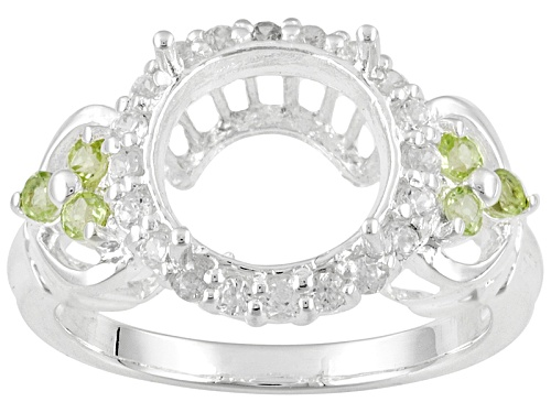 Photo of Gemsavvy Trenditions™ 10mm Round .18ctw Peridot And .30ctw Zircon Sterling Silver Semi-Mount Ring