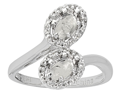 Photo of 7x5mm Oval Bypass With .14ctw Round White Topaz Sterling Silver Semi Mount Ring