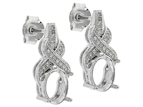 Photo of Rhodium Over Sterling Silver 8x6mm Oval Center With .10ctw Diamond Semi-Mount Earrings