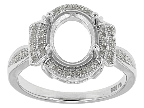 Photo of Rhodium Over Sterling Silver 10x8mm Oval Center With .15ctw Round Diamond Semi-Mount Ring