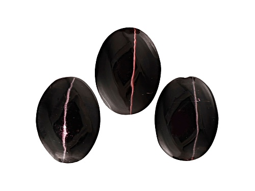 Photo of Set Of 3 Indian Black Cat's-Eye Sillimanite Avg 4.25ctw 8x6mm Oval Cabochon