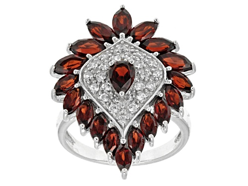 Photo of 4.39ctw Pear Shape And Marquise Vermelho Garnet™ With Round White Zircon Rhodium Silver Ring - Size 7