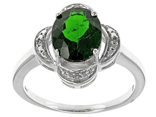 Photo of 2.65ct Oval Russian Chrome Diopside With .01ctw Four Round White Diamond Accents Silver Ring - Size 12