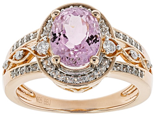 Photo of 2.20CT KUNZITE WITH .09CTW MOISSANITE AND .31CTW ZIRCON 18K ROSE GOLD OVER STERLING SILVER RING - Size 9