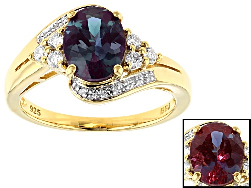 Photo of 1.82ct lab alexandrite, .30ctw lab moissanite,   .04ctw diamond accent 18k gold over silver ring - Size 8