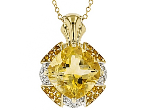 Photo of 5.44ctw yellow citrine with .10ctw moissanite 18k gold over sterling silver pendant with chain