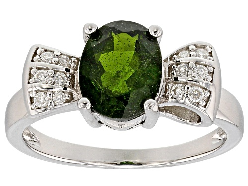 Photo of 1.67ct Russian Chrome Diopside With .77ctw Lab Created Moissanite Rhodium Over Sterling Silver Ring - Size 8