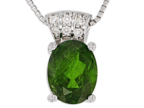 Photo of 1.67ct Russian Chrome Diopside With .04ctw Lab Moissanite Rhodium Over Silver Pendant With Chain