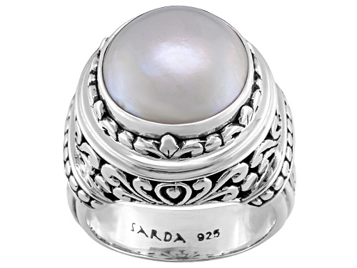 Photo of Artisan Gem Collection Of Bali™ Round White Mabe Pearl Sterling Silver Ring - Size 6