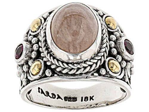 Photo of Artisan Of Bali™ 11x9mm Morganite And .26ctw Rhodolite Silver With 18kt Gold Accent Ring - Size 6