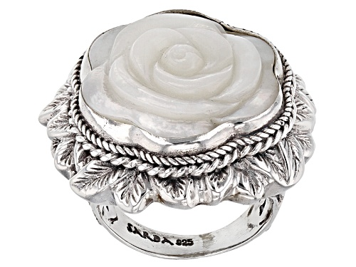 Photo of Artisan Gem Collection Of Bali™ 20mm Carved White Mother Of Pearl Sterling Silver Flower Ring - Size 12