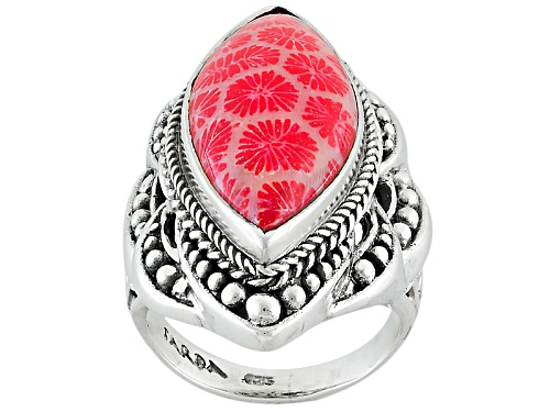 Photo of Artisan Gem Collection Of Bali™ 25x12mm Marquise Red Indonesian Coral Solitaire Silver Ring - Size 12