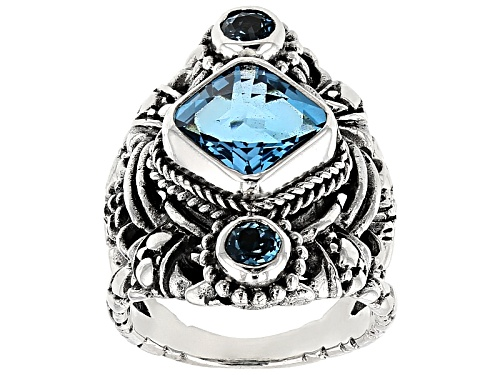 Photo of Artisan Gem Collection Of Bali™ 4.17ctw Square Cushion And Round Swiss Blue Topaz Silver Ring - Size 12