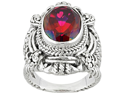 Photo of Artisan Gem Collection Of Bali™ 5.00ct Raspberry Rouge™ Mystic Quartz® Silver Solitaire Ring - Size 12
